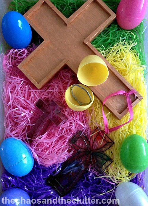 Christ-centered Easter sensory bin