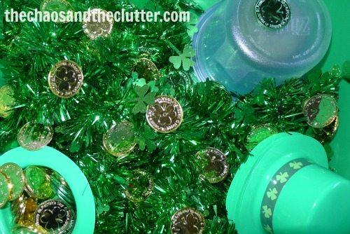 St. Patrick's Day green sensory bin