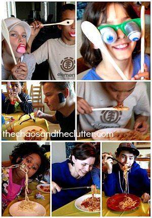 creative spaghetti eating