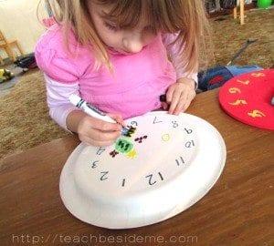 grouchy ladybug paper plate clock
