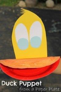 paper plate duck puppet