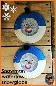 paper plate snowman globe