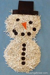paper plate snowman shredded