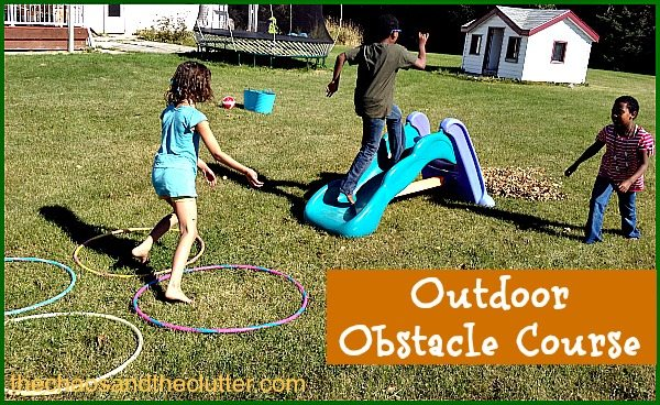 set up a simple backyard obstacle course for the kids using what we