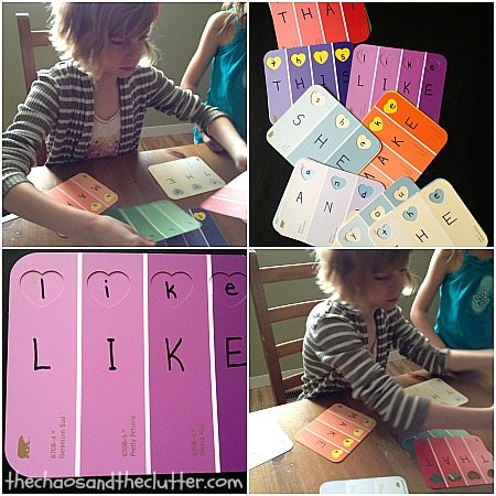 Paint Chip Sight Word Activity