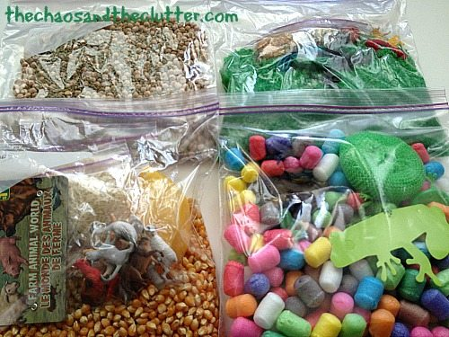 bags for sensory bin swap