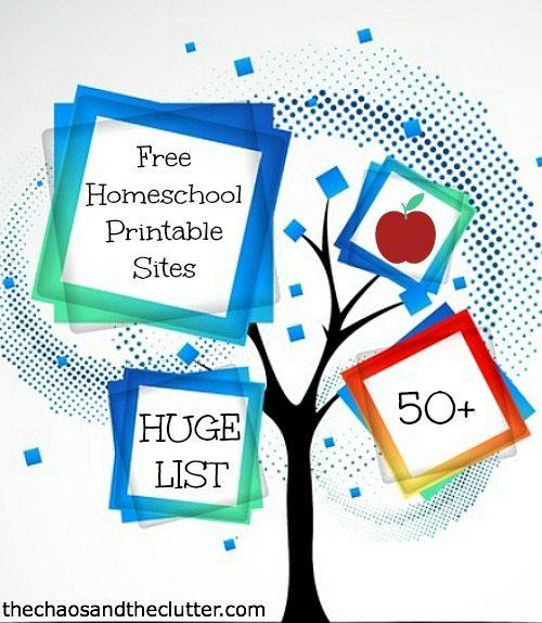 Huge List of Free Homeschool Printable Sites