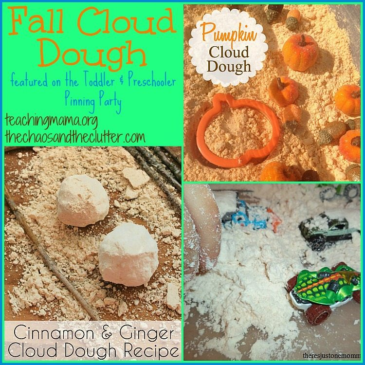 Fall Cloud Dough as featured on the Toddler & Preschooler Pinning Party