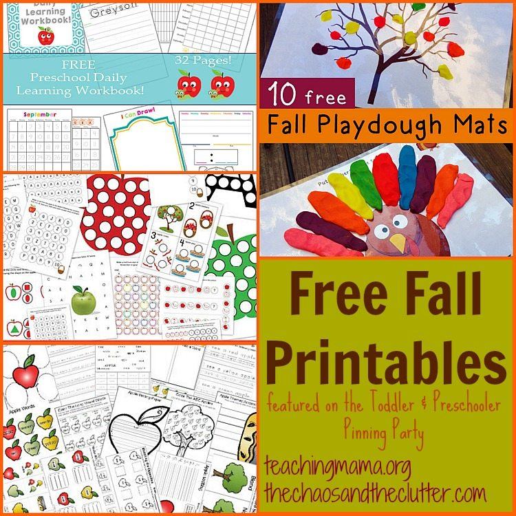 Free Fall Printables as featured on the Toddler & Preschooler Pinning Party