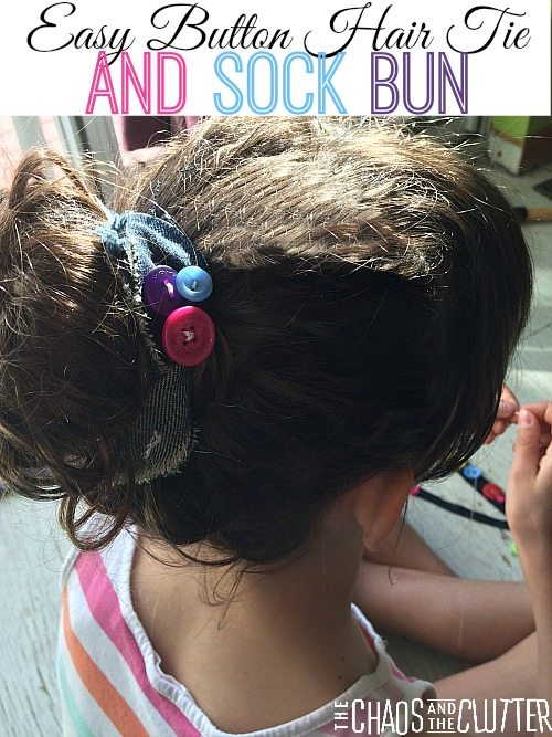 Easy Button Hair Tie and Sock Bun (includes a video on how to make a sock bun)