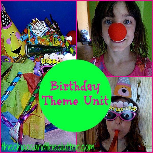 Birthday Theme Unit - books, activities, sensory bin, play, and printables