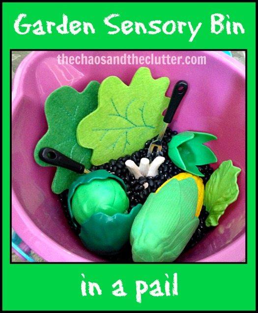 garden sensory bin in pail