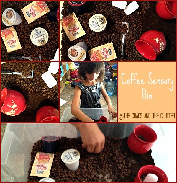 Coffee Sensory Bin at The Chaos and The Clutter