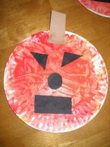 colour mixing paper plate pumpkins
