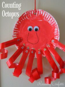 counting octopus paper plate craft