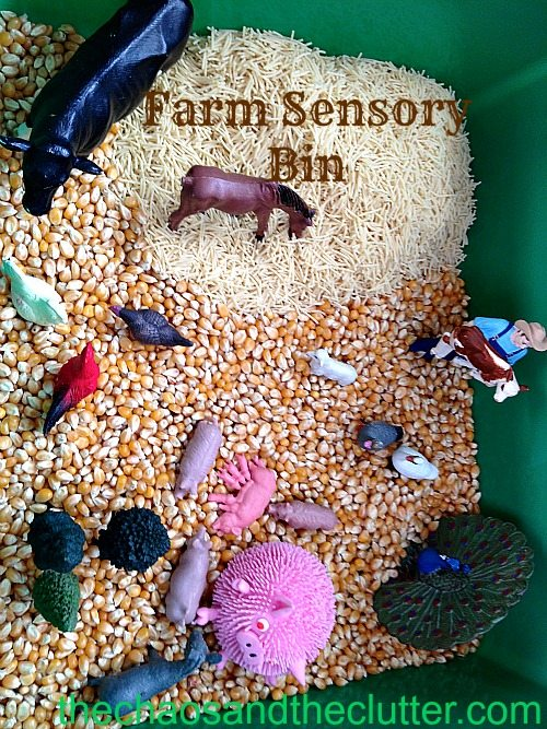 Farm Sensory Bin at The Chaos and The Clutter