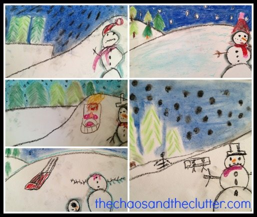 Snowman Chalk Pastel Art