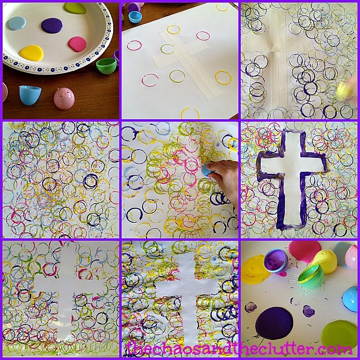 Tape Resist Easter Cross