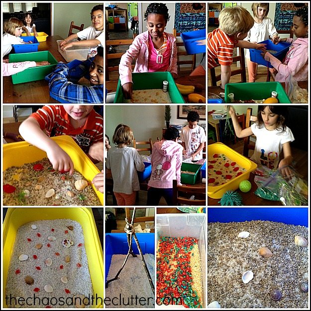 creating their own sensory bins
