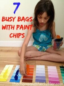 7 Busy Bags with Paint Chips
