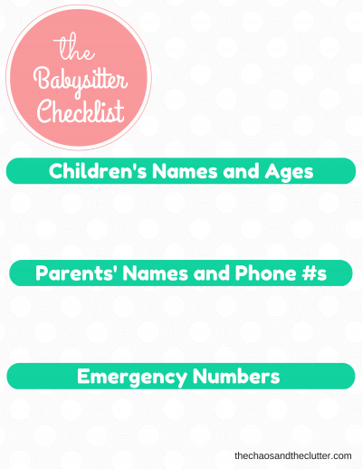 the babysitter checklist