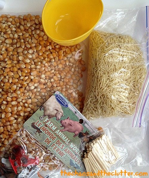 farm sensory bin in a bag