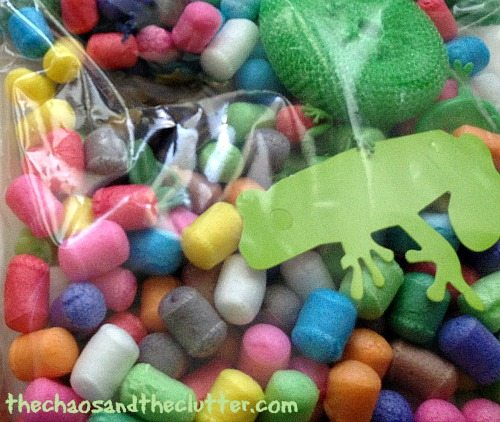 frog sensory bin in a bag
