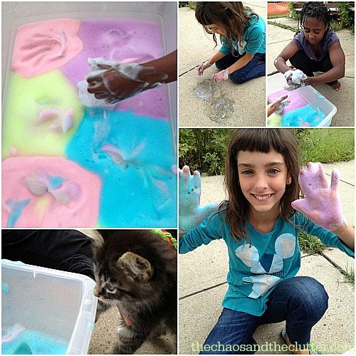 playing with Rainbow Soap Foam