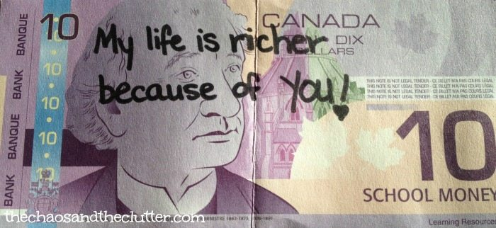 My Life is Richer love note on money