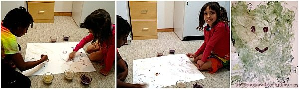 fingerpainting with flower petal paint